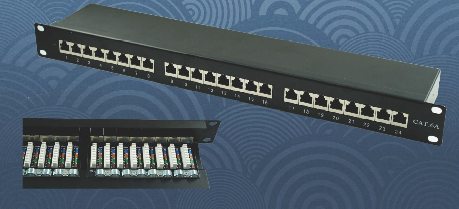 24 Port CAT6a RJ45 to Krone IDC Patch Panel for rack installation